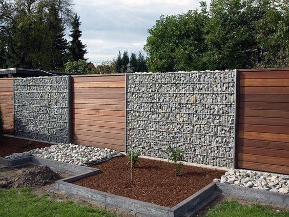 Impressive Wood And Rock Modern Privacy Fence Ideas