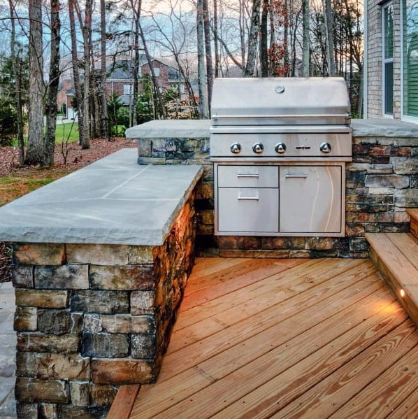 Impressive Wood Deck Built In Grill Ideas