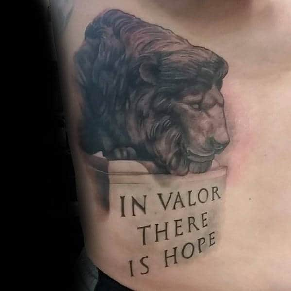 In Valor There Is Hope Mens Statue 3d Police Rib Cage Side Tattoos