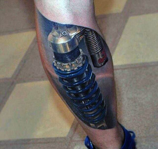 Incredible 3d Blue Shock Absorber Suspension Leg Tattoos For Men