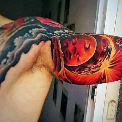 Incredible 3d Glowing Sun Tattoo Mens Ideas On Bicep