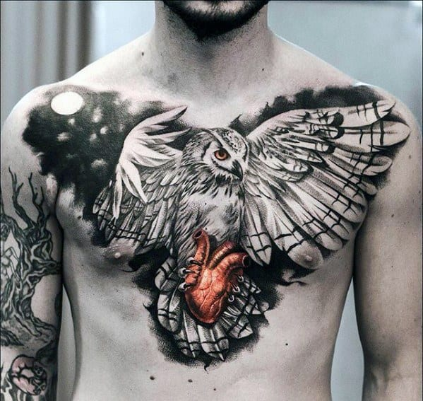Incredible 3d Heart With Owl Chest Tattoos For Men