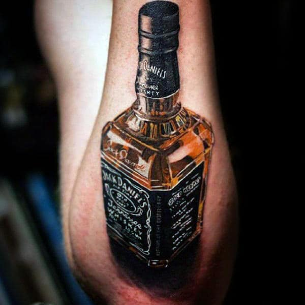 Incredible 3d Jack Daniels Bottle Mens Outer Forearm Tattoos