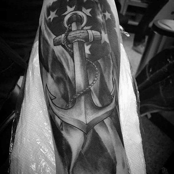 Incredible Anchor Sleeve American Flag Tattoo Design On Man