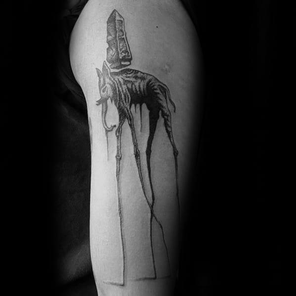 Incredible Arm Salvador Dali Elephant Tattoos For Men