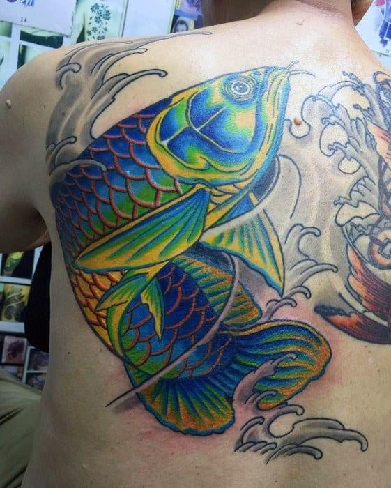 Incredible Arowana Tattoos For Men On Back