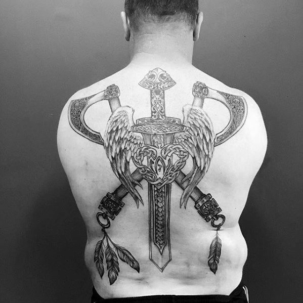 Incredible Axe Tattoos For Men On Back