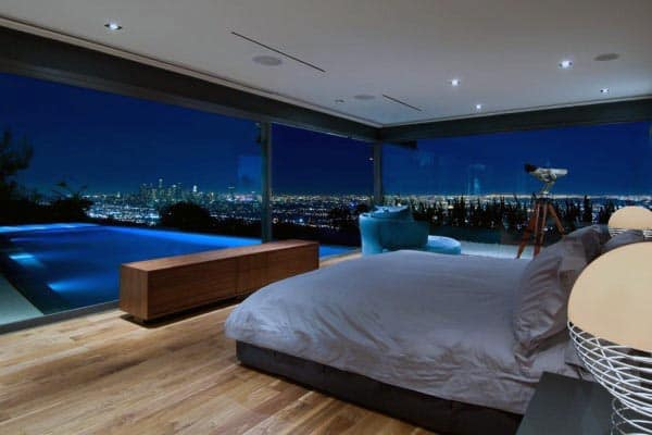 Incredible Bachelor Pad Bedroom With Ourdoor Home Swimming Pool Attached