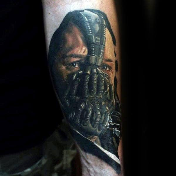 Incredible Bane Guys Superhero Inner Forearm Tattoo