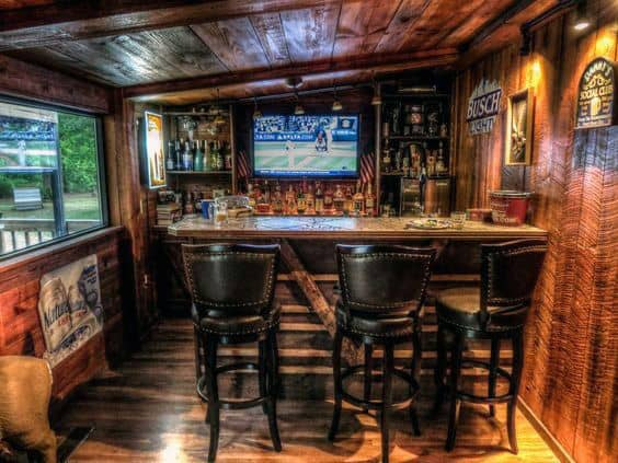 Incredible Bar Shed Design With Wood Walls And Ceiling