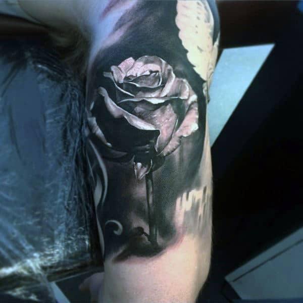 Incredible Black Ink Rose Flower Inner Arm Male Tattoo
