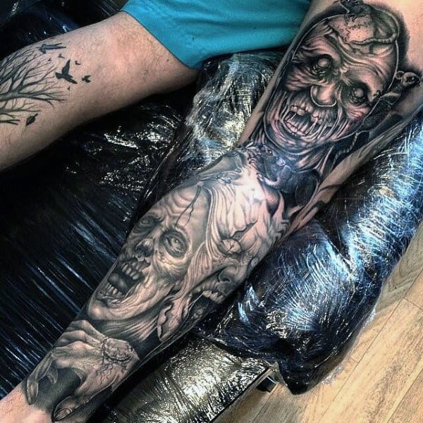 Incredible Black Ink Shaded Zombie Leg Tattoo Sleeve For Males