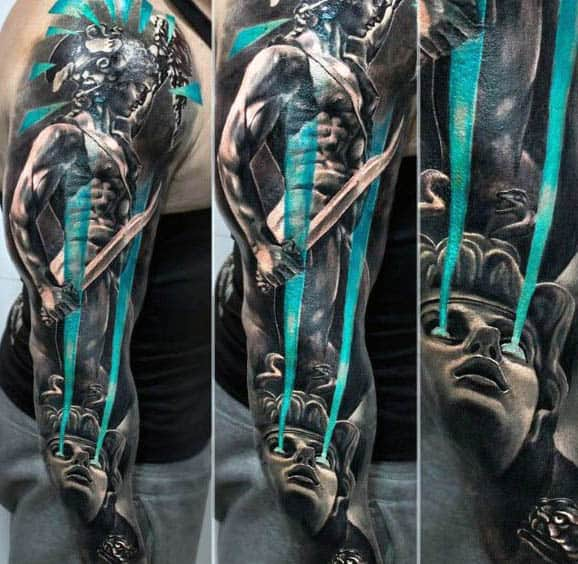 Incredible Blue Eyes Medusa Turning Man Into Stone Tattoo Full Mens Sleeve