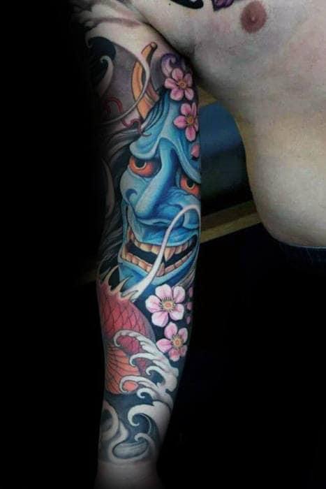 incredible-blue-japanese-demon-mask-sleeve-tattoos-for-men