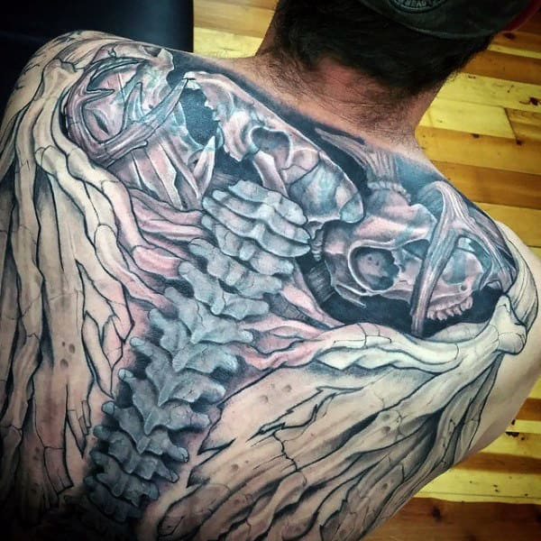 Incredible Bone Spine Tattoos For Guys On Back