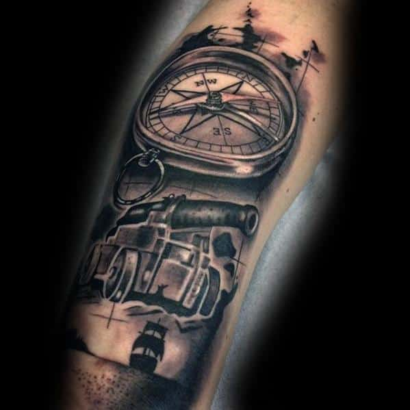 Incredible Cannon With Compass And Sailing Ship 3d Tattoos For Men On Inner Forearm