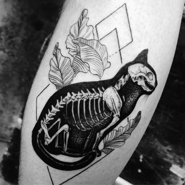 Incredible Cat Skeleton X Ray Tattoos For Men