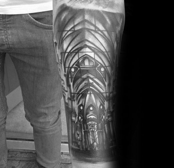 Incredible Cathedral Tattoos For Men Forearm Sleeve