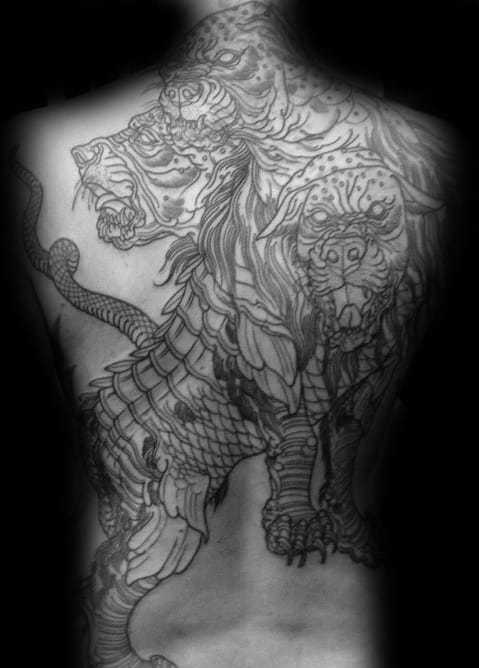 Incredible Cerberus Male Full Back Tattoo Ideas