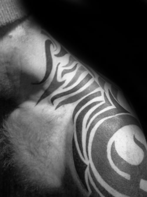 Incredible Classic Tribal Neck Tattoos For Men