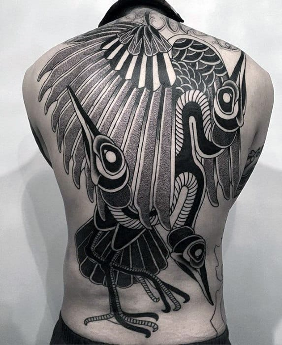 Incredible Cool Birds Mens Full Back Tatoo Design Ideas
