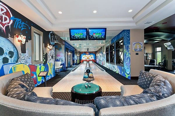 Incredible Cool Finished Basement Bowling Alley Lanes Design