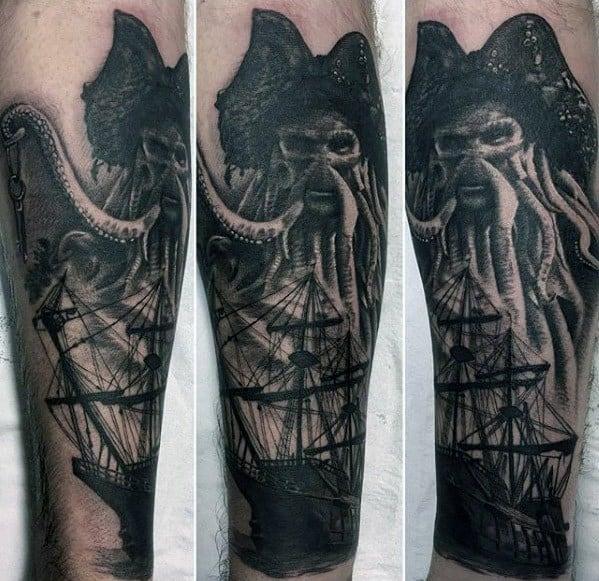 Incredible Davy Jones Sailing Ship Forearm Tattoos For Men