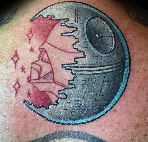 Incredible Death Star Tattoos For Men On Upper Back