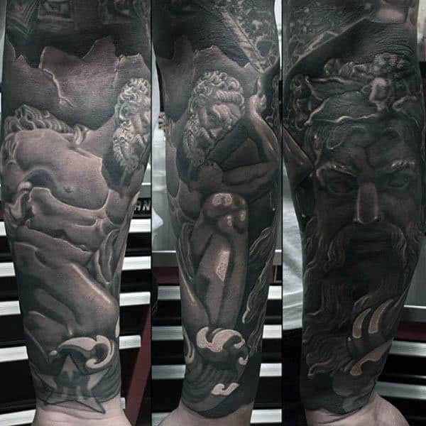 Increíbles y detalladas mangas de antebrazo Atlas Gentlemens Fitness Tattoo Ideas