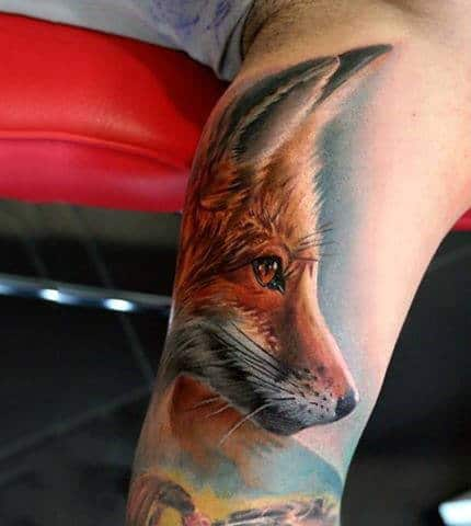 Incredible Detailed Fox Mens Animal Tattoos On Inner Bicep Of Arm