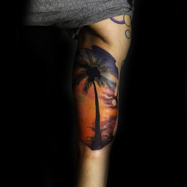 Incredible Detailed Male Travel Tattoo Of Beach Palm Tree Arm Half Sleeve