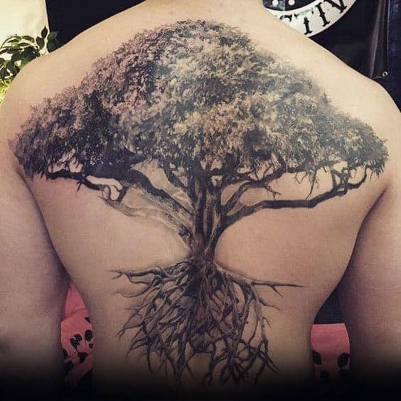 40 tree back tattoo designs for men wooden ink ideas. Black Bedroom Furniture Sets. Home Design Ideas