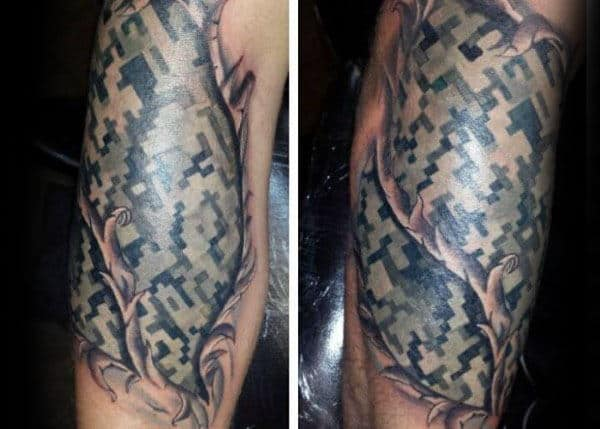 Incredible Digital Camo Mens Arm Tattoo