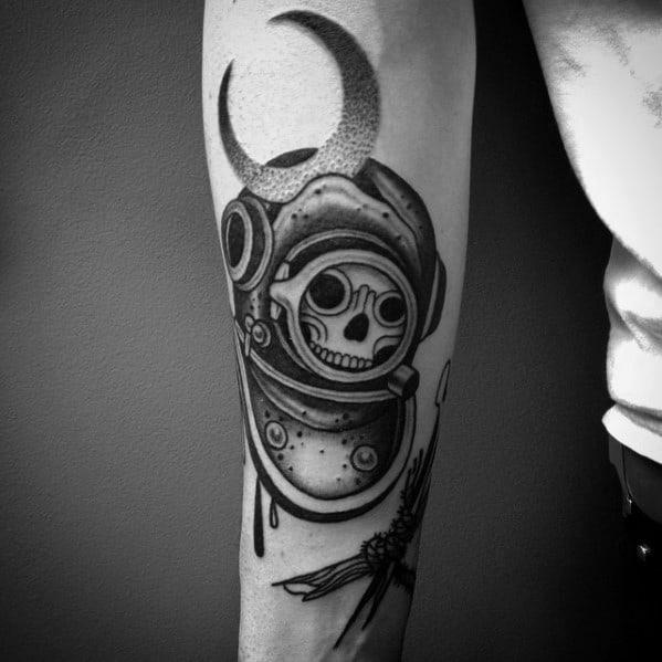 Incredible Diving Helmet Skull With Moon Inner Forearm Tattoos For Men