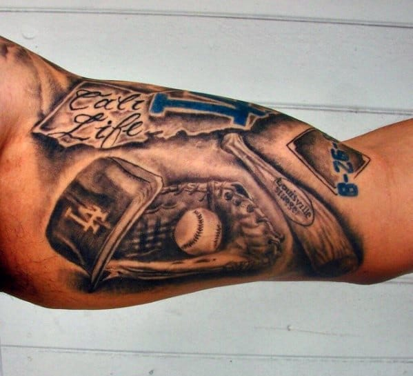 Incredible Dodgers Tattoos For Men With Baseball Theme On Inner Arm Bicep