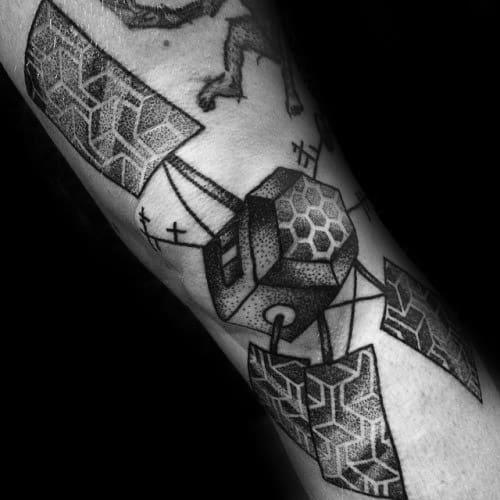 Incredible Dotwork Geometric Pattern Forearm Satellite Tattoos For Men