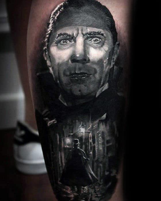 Incredible Dracula 3d Realistic Leg Tattoos For Guys