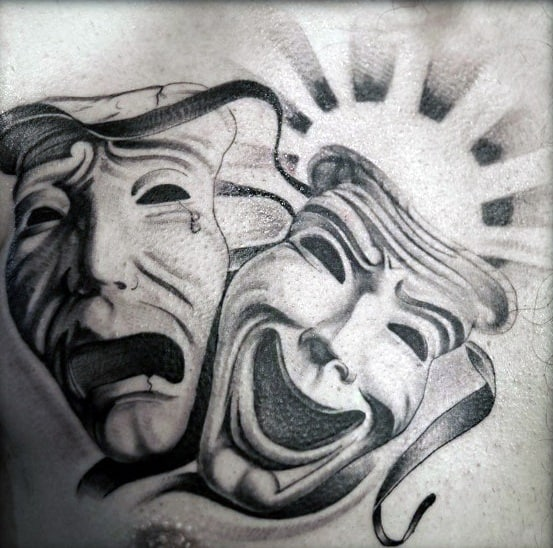 Incredible Drama Mask Tattoos For Men On Upper Chest With 3d Design