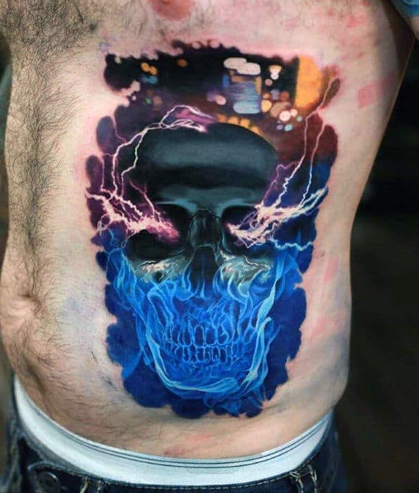 Incredible Electric Rib Cage Side Badass Skull Tattoos For Men