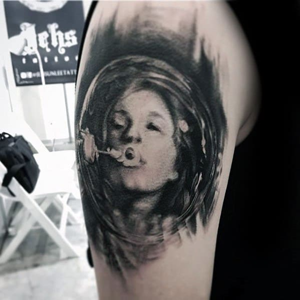 Incredible Female Portrait Blowing Bubbles Arm Tattoos For Men