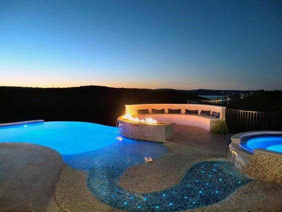 Incredible Fireplace Home Swimming Pool Design Inspiration