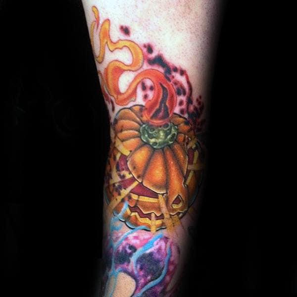 Incredible Forearm Pumpkin Tattoos For Men