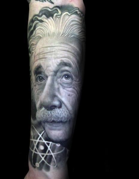 Incredible Forearm Sleeve Albert Einstein Tattoos For Men