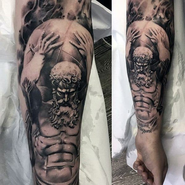 Incredible Forearm Sleeve Roman Statue Tattoos For Men