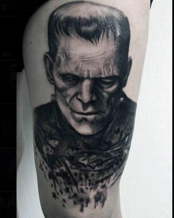 Incredible Frankenstein Watercolor Thigh Tattoos For Guys