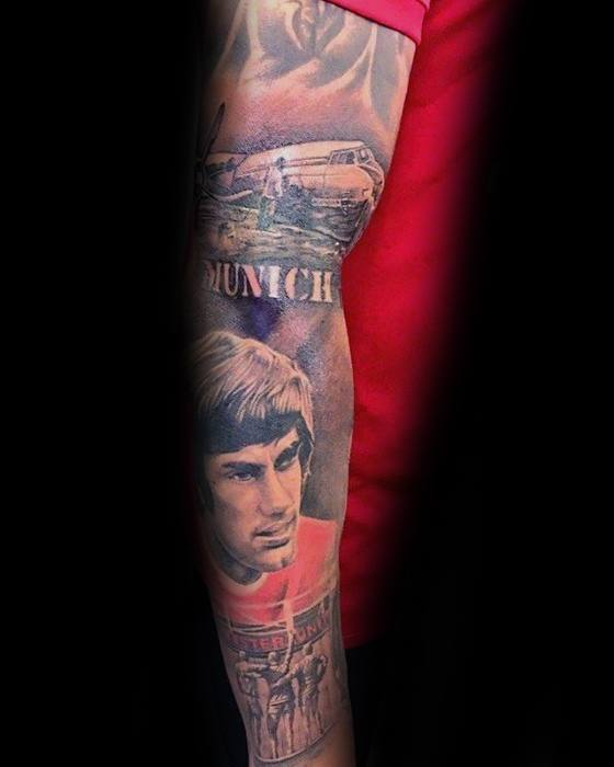 Incredible Full Arm Sleeve Themed Manchester United Tattoos For Men