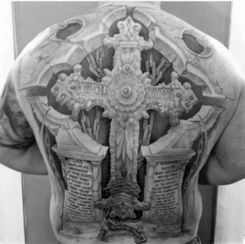 Incredible Full Back 3d Cross Male Tattoo Ideas