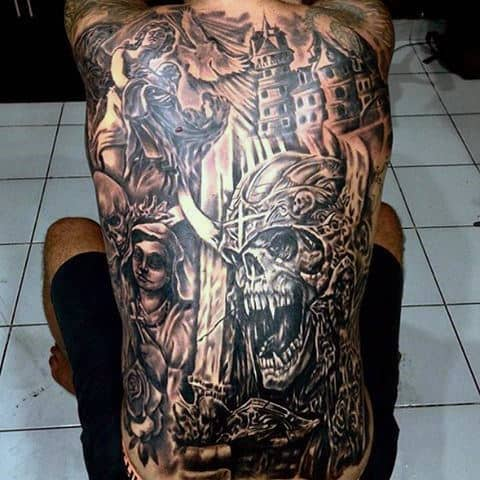 Incredible Full Back Castle Angels Tattoos For Men