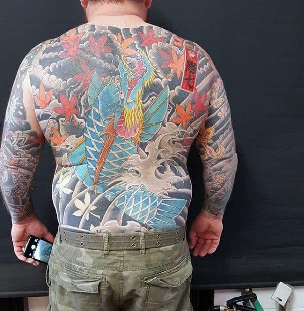 Incredible Full Back Koi Dragon Japanese Style Tattoos For Men