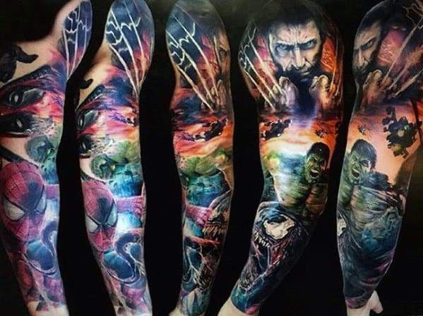 Incredible Full Sleeve Tattoo With Marvel Superheros For Men
